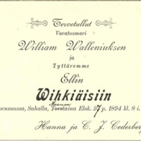 Kutsu : William Wallenius ja Elli Cederberg
